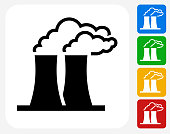 Nuclear Reactor Icon. This 100% royalty free vector illustration features the main icon pictured in black inside a white square. The alternative color options in blue, green, yellow and red are on the right of the icon and are arranged in a vertical column.