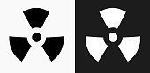 Nuclear Sign Icon on Black and White Vector Backgrounds