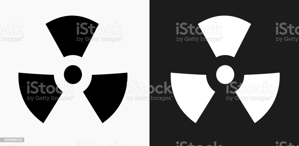 Nuclear Sign Icon on Black and White Vector Backgrounds vector art illustration