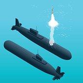 Nuclear submarine traveling underwater