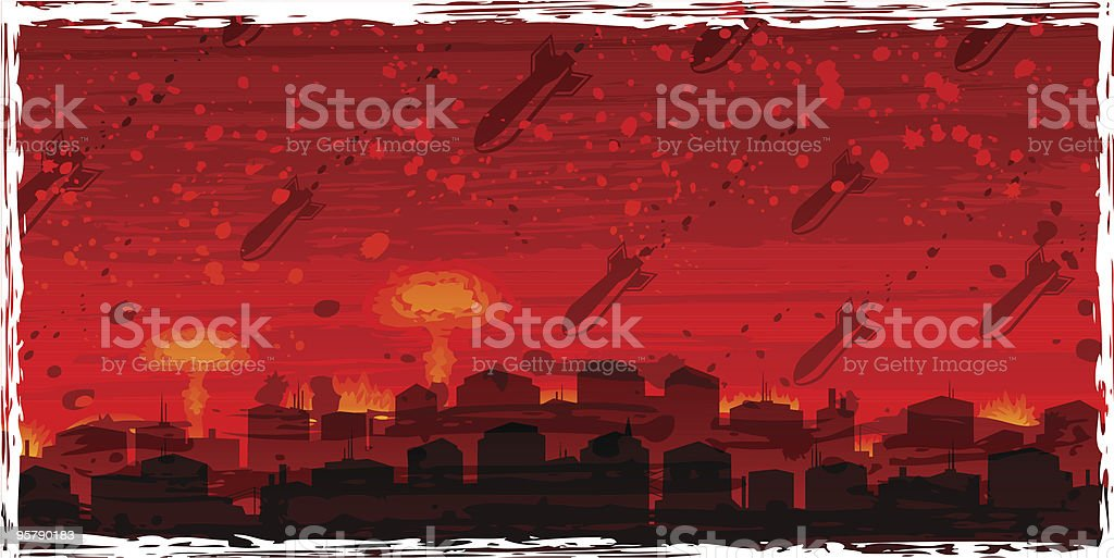 Nuclear war - atom bombs falling on the doomed city royalty-free nuclear war atom bombs falling on the doomed city stock vector art & more images of air pollution