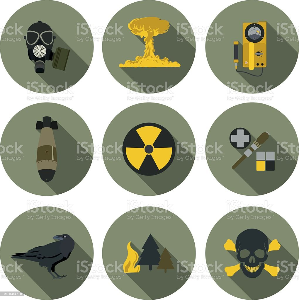 nuclear war flat icons vector art illustration