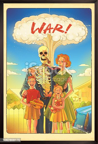 Nuclear war poster in retro style, eps9