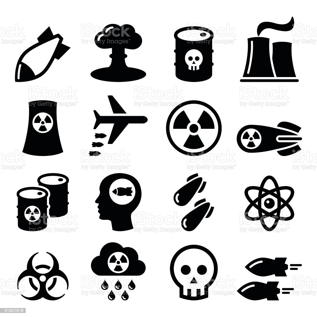 Nuclear weapon, nuclear factory, war, bombs icons set vector art illustration