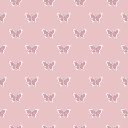 Nude and white swallowtail butterfly silhouette pattern