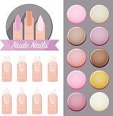 Nude Nails Salon - vector logo, icons, polish color palette