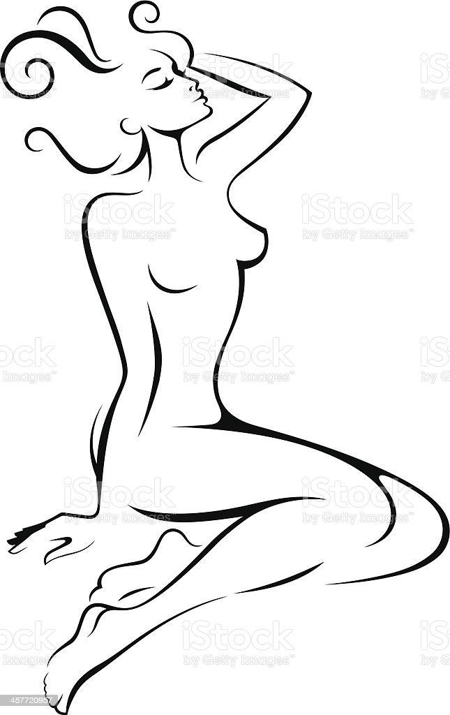 Nude. vector art illustration