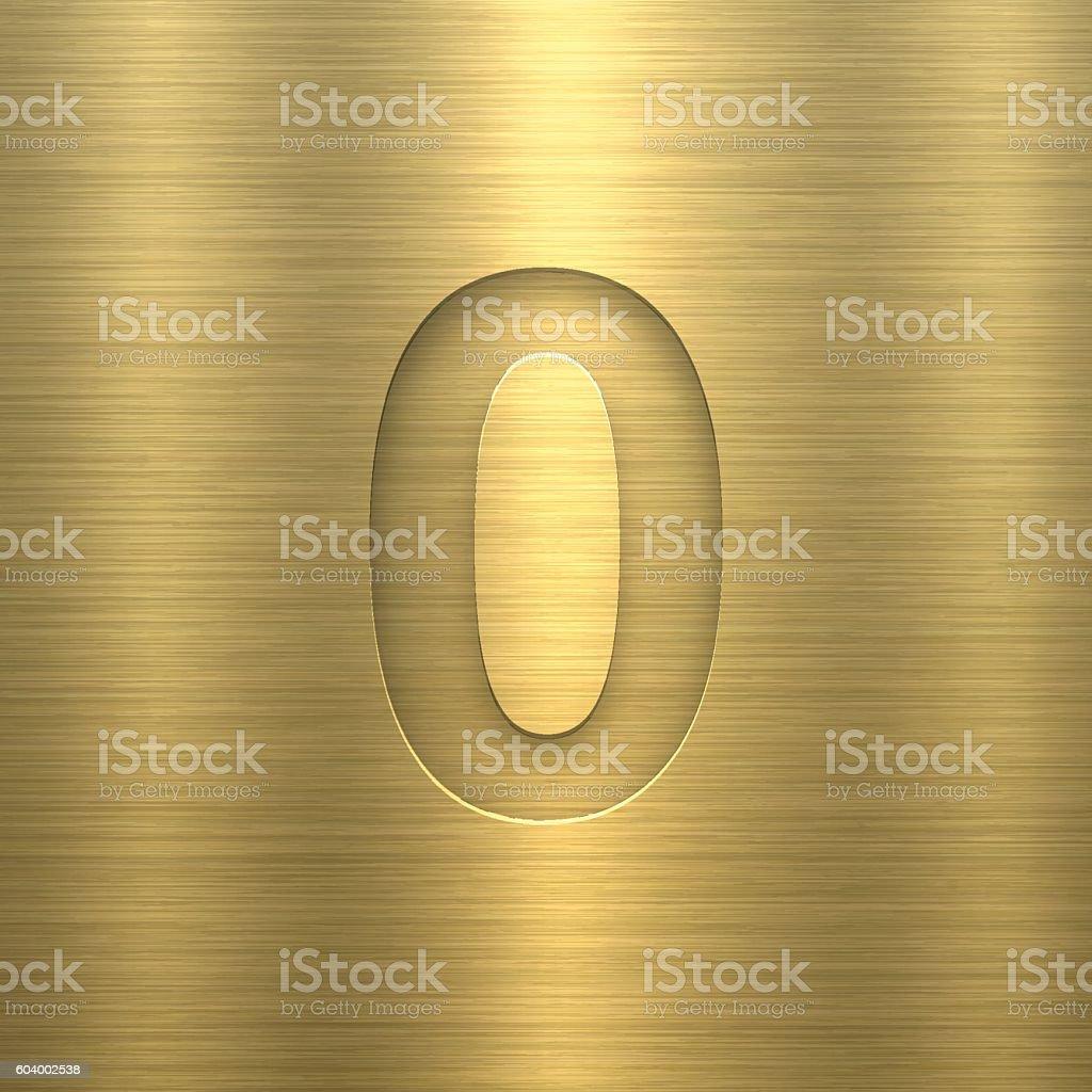 Number 0 Design (Zero). Number on Gold Metal Texture vector art illustration