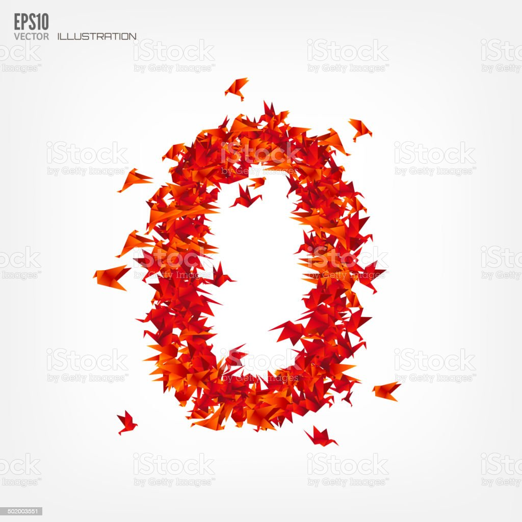 number 0 numbers with origami paper bird on abstract background
