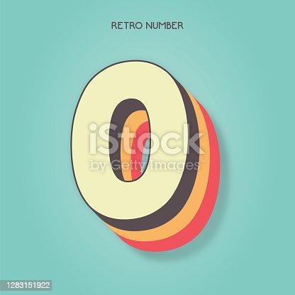istock Number 0. Retro style lettering stock illustration. Invitation or greeting card stock illustration 1283151922