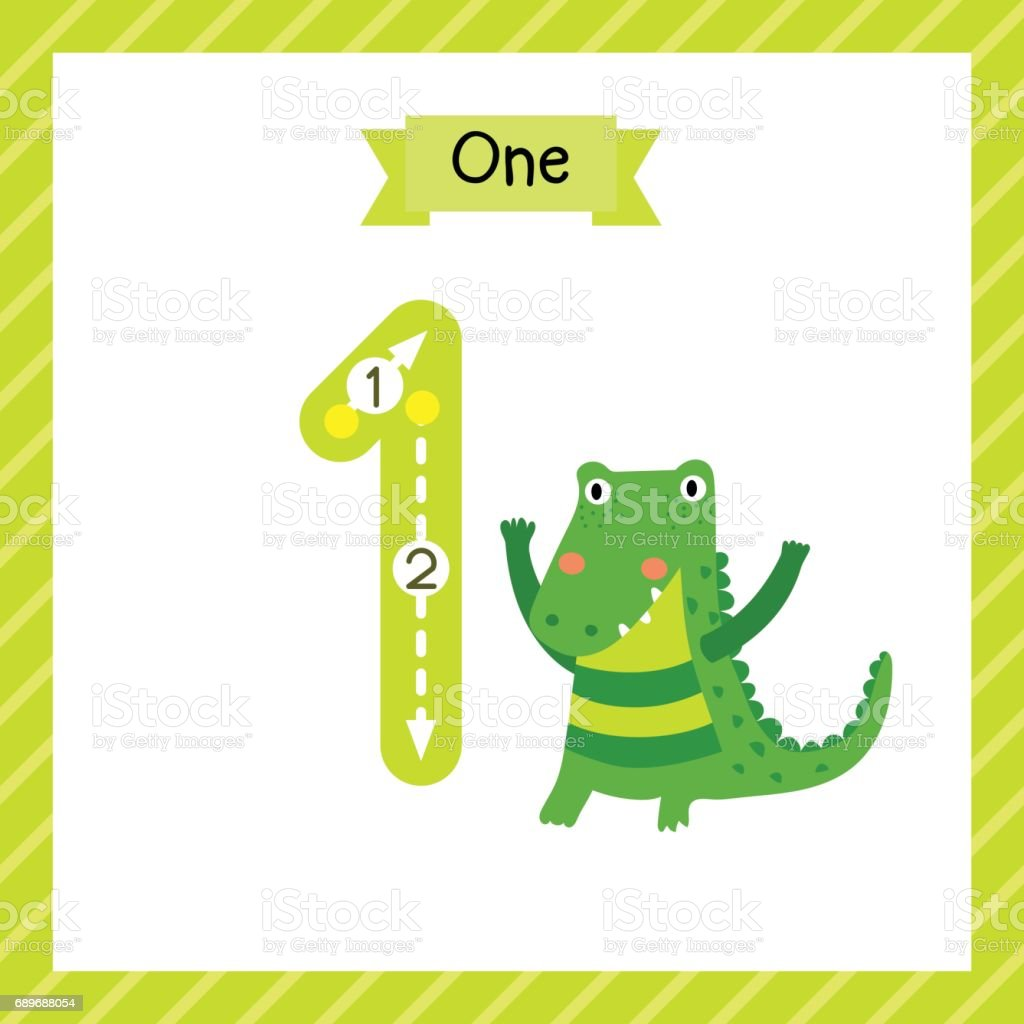Number 1 Animal Tracing Flash Card Stock Vector Art & More Images of ...