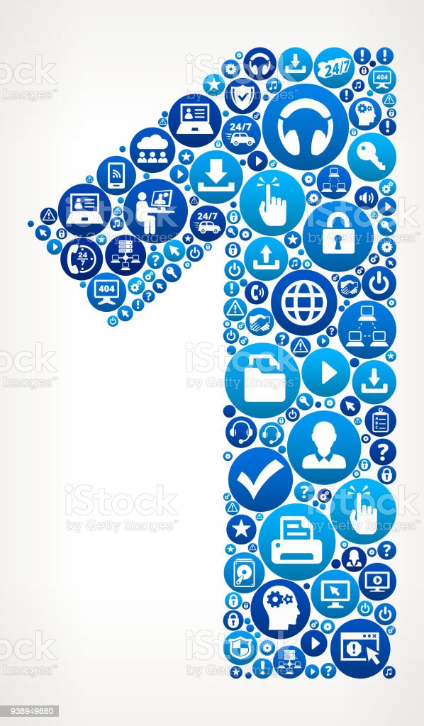 Number 1 Computer Tech Support Vector Icon Pattern Stock