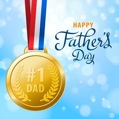 Number 1 Dad Gold Medal