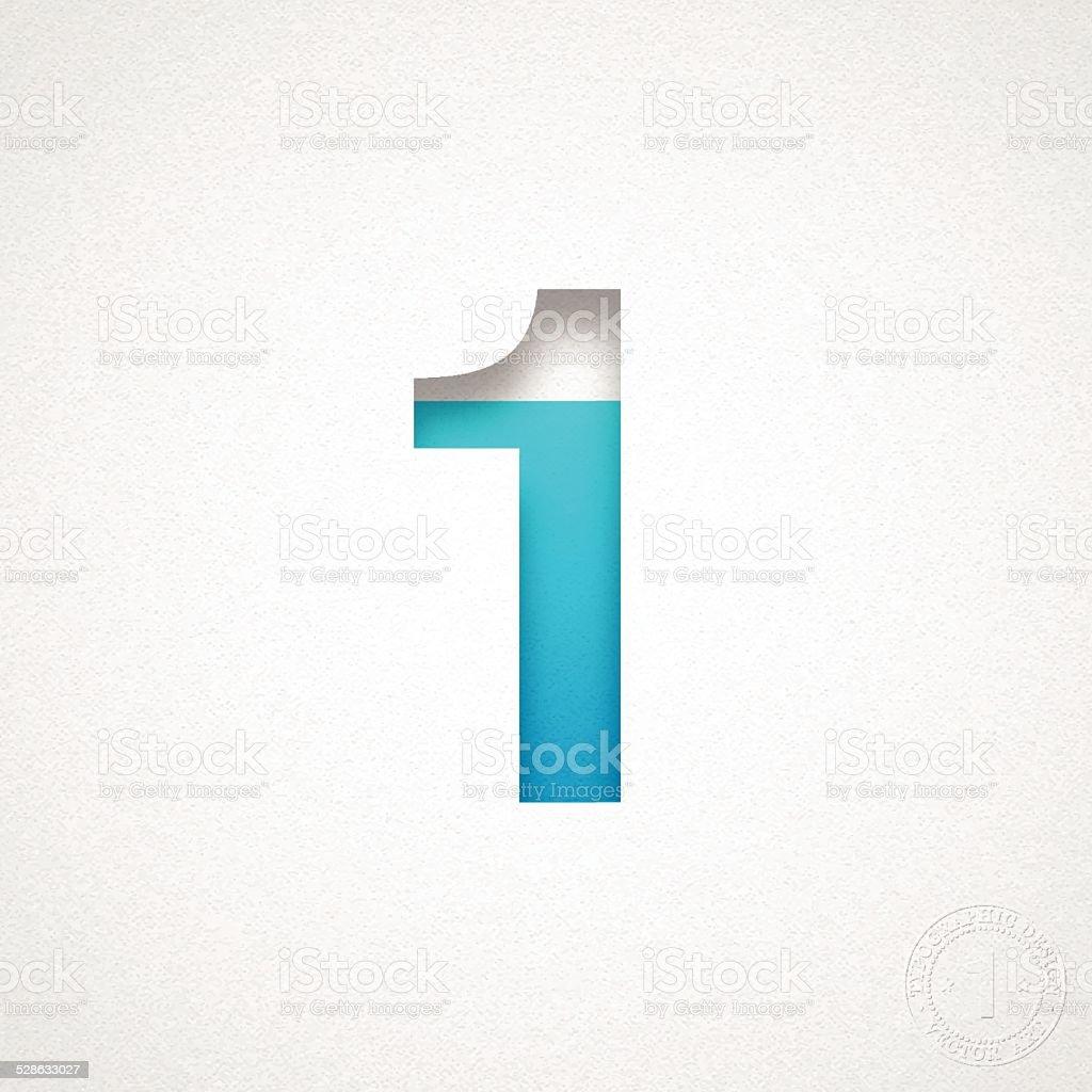 Number 1 Design (One) - Blue Number on Watercolor Paper vector art illustration