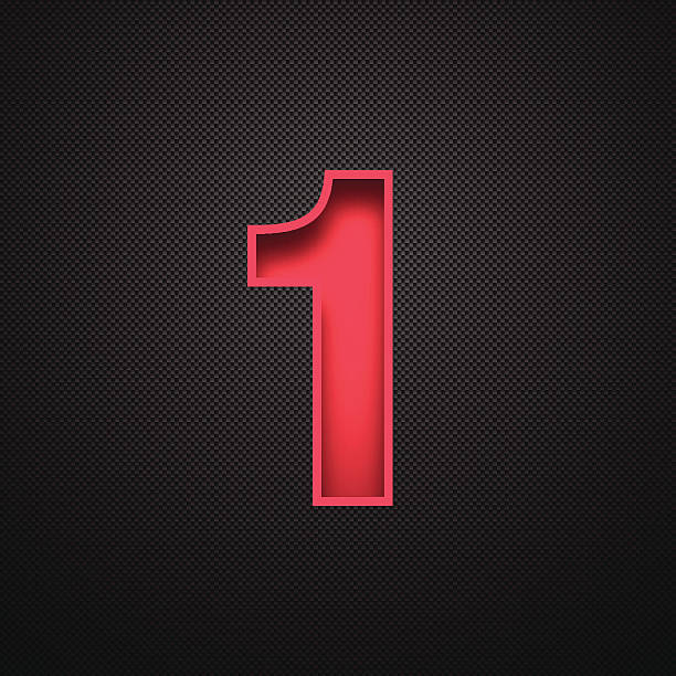 number 1 design (one). red number on carbon fiber background - single object stock illustrations, clip art, cartoons, & icons