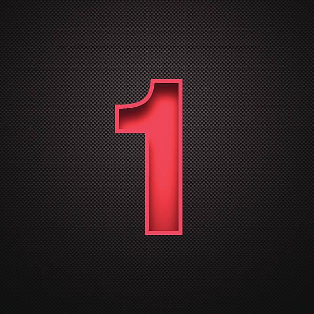 nummer 1 design (eins) sein. rote zahl an carbon faser-hintergrund - einzelner gegenstand stock-grafiken, -clipart, -cartoons und -symbole