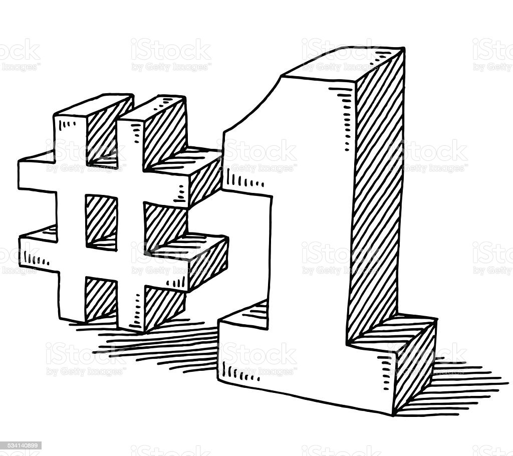 Number 1 Drawing vector art illustration