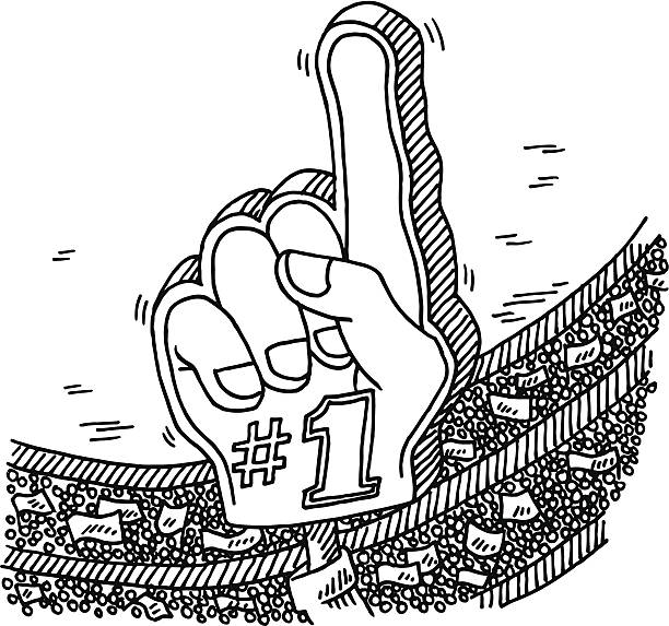 Number 1 Fan Hand Stadium Crowd Drawing Hand-drawn vector drawing of a Number 1 Fan Hand in a Crowded Sports Stadium. Black-and-White sketch on a transparent background (.eps-file). Included files are EPS (v10) and Hi-Res JPG. sport stock illustrations