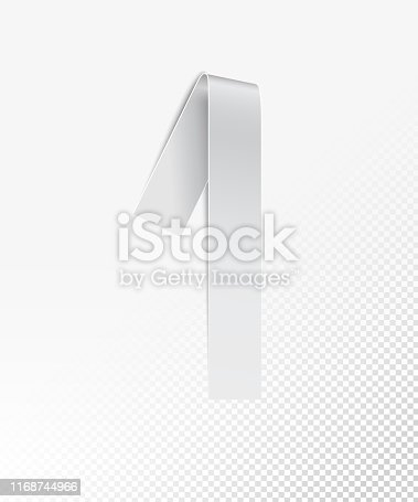 845307398 istock photo Number 1 in vector - a narrow strip of paper black and white painted twisted in realistic 3D shape - luxury design element isolated on background with light and soft shadows 1168744966