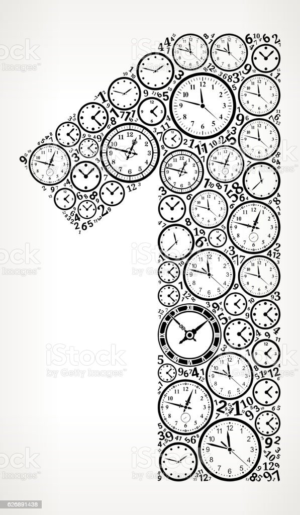 Number 1 On Time And Clock Vector Icon Pattern Stock Vektor Art und ...