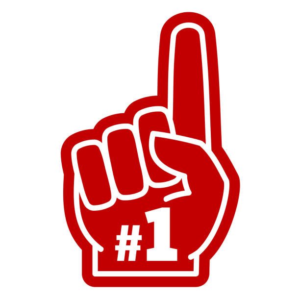 Number 1 one sports fan foam hand with raising forefinger Number 1 one sports fan foam hand with raising forefinger vector icon. Fan support sport illustration single object stock illustrations