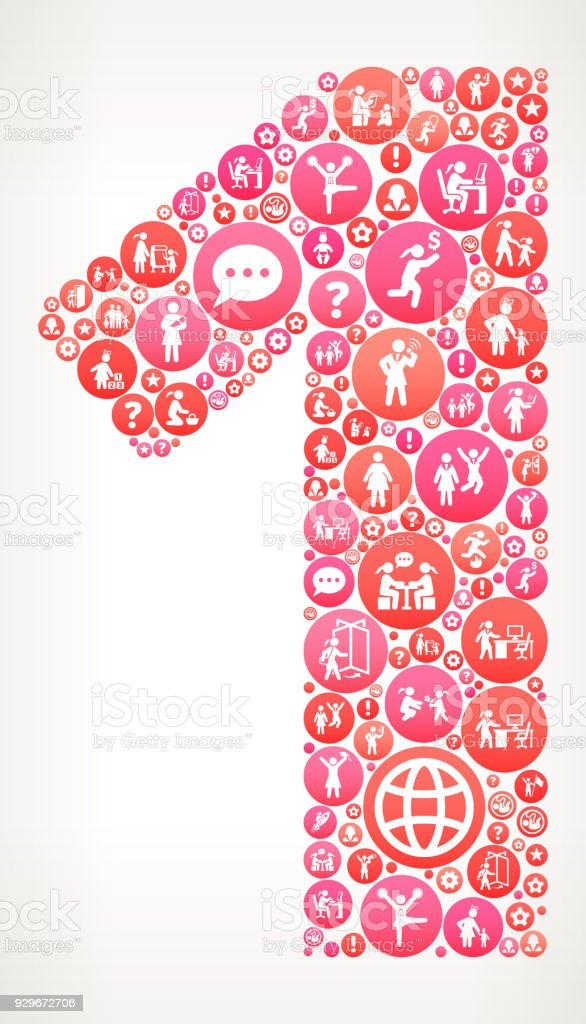 ilustração de número 1 das mulheres garota poder vetor ícones padrão
