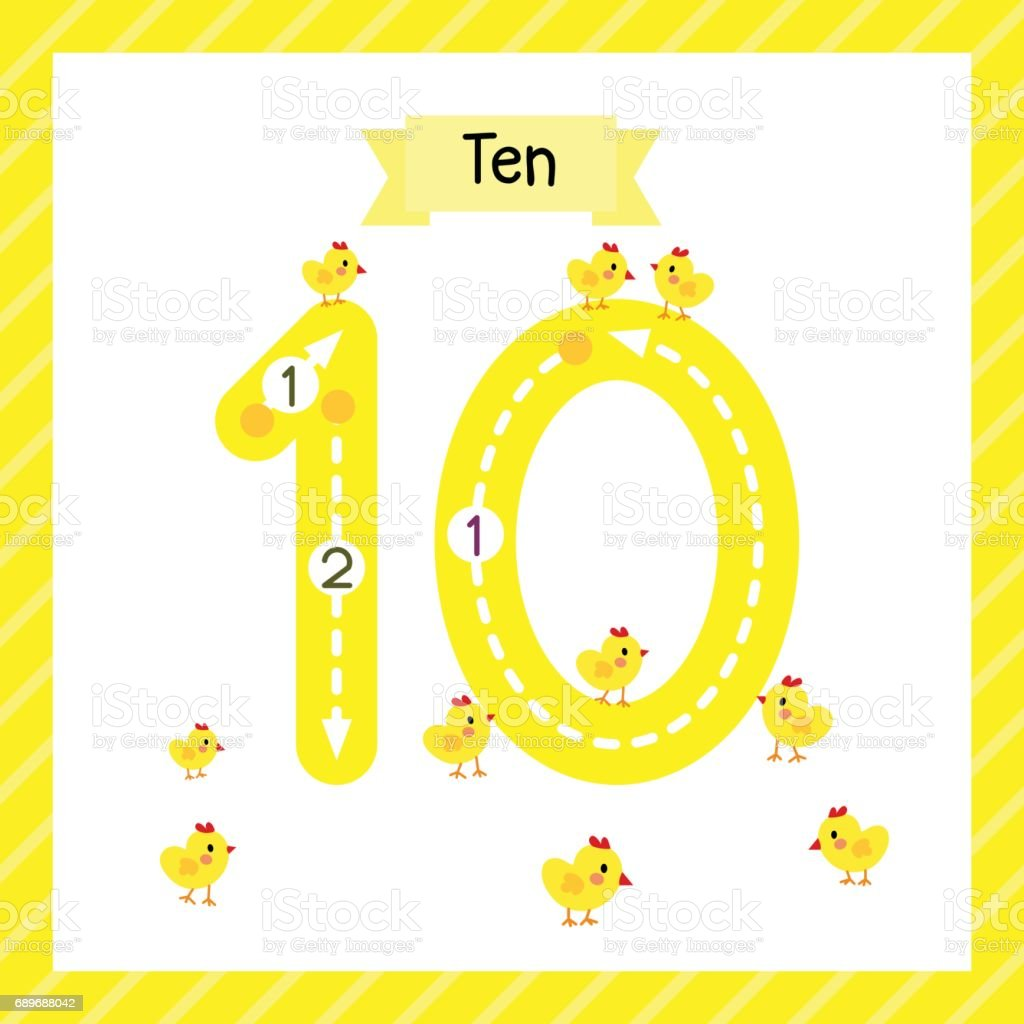 Number 10 Animal Tracing Flash Card Stock Vector Art & More Images ...