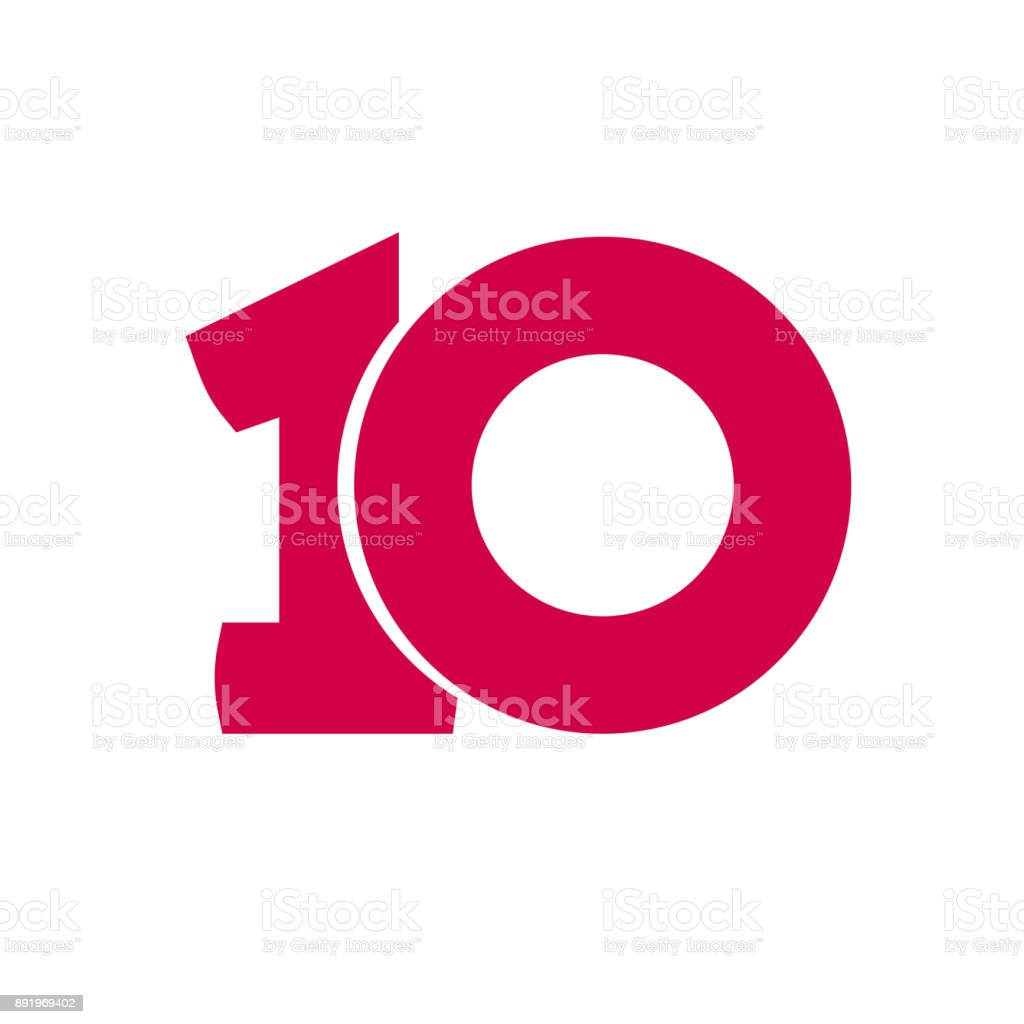 Number 10 vector symbol, simple ten text isolated vector art illustration