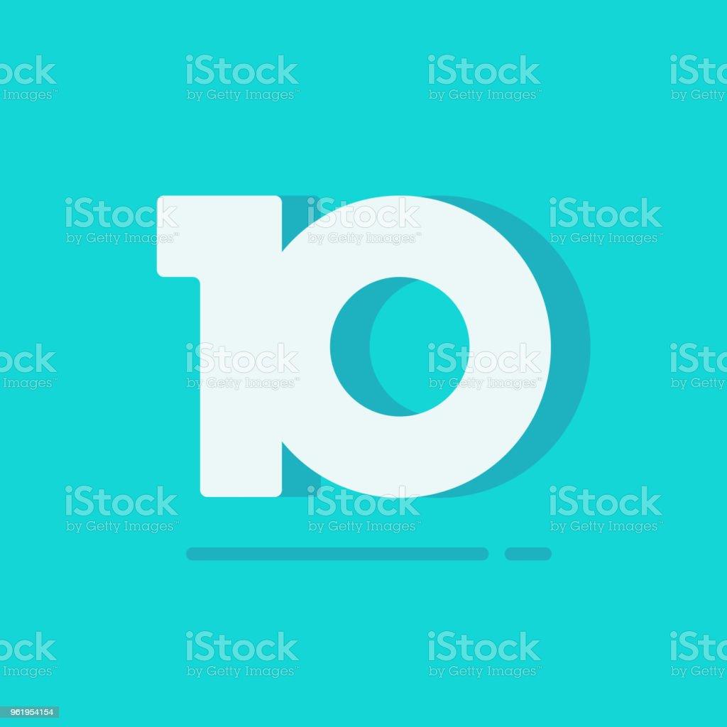 Nummer 10 Vektor Symbol, Symbol für einfache weiße zehn Text isoliert, flache Cartoon Stil clipart – Vektorgrafik