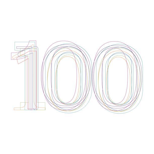 bildbanksillustrationer, clip art samt tecknat material och ikoner med nummer 100 i disposition - nummer 100