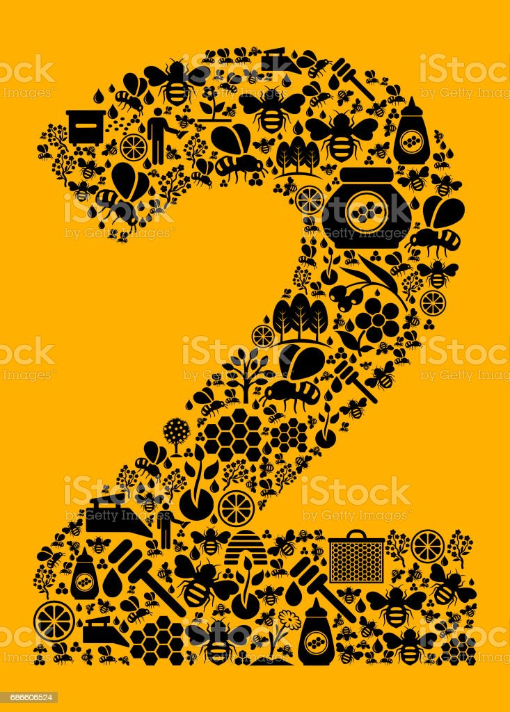 2 號蜜蜂和蜂蜜向量圖示背景 免版稅 2 號蜜蜂和蜂蜜向量圖示背景 向量插圖及更多 2號 圖片