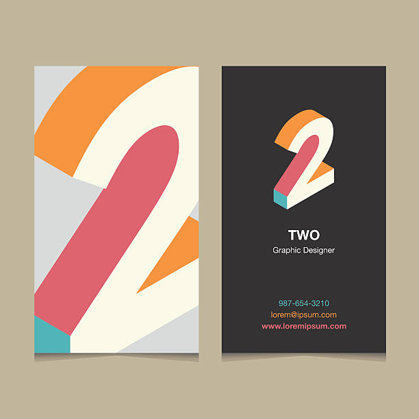"""number """"2"""" Number """"2"""", with business card template. Vector graphic design elements for company logo. gezond stock illustrations"""