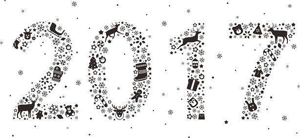 Number 2017, Christmas icon set, vector illustration
