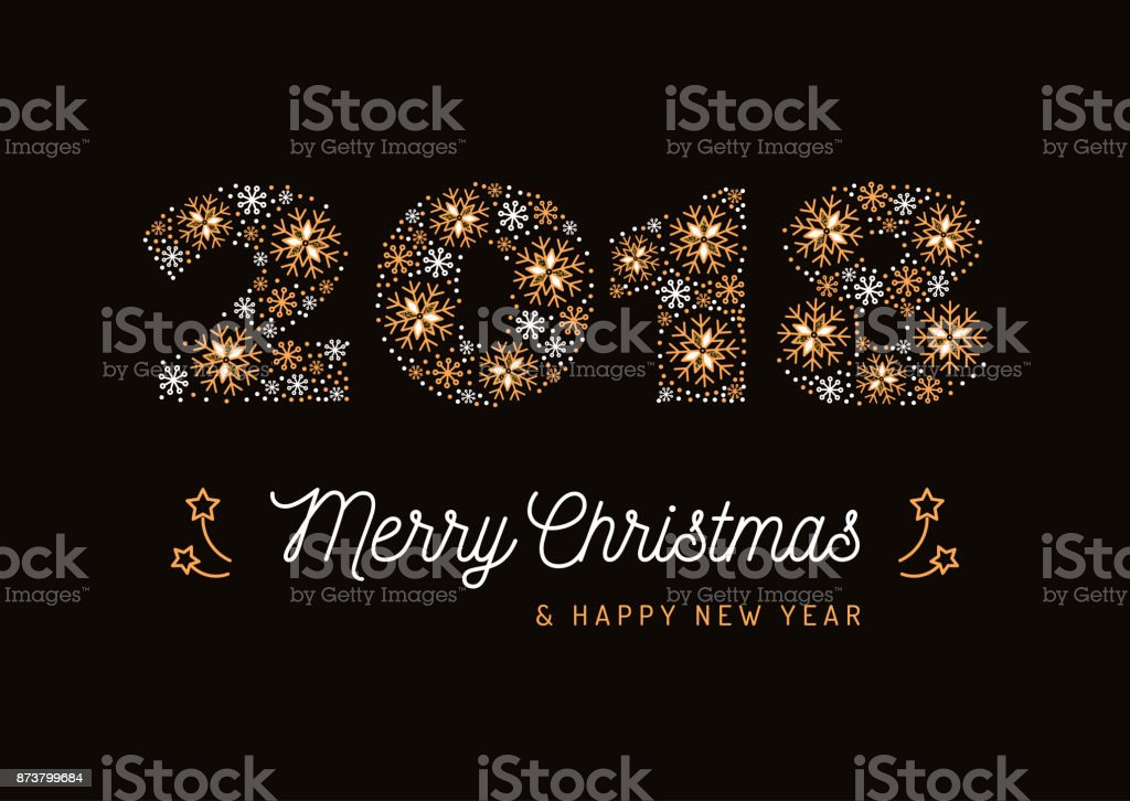 Number 2018 made of snowflakes christmas card and new year poster number 2018 made of snowflakes christmas card and new year poster minimal design corporate reheart Image collections