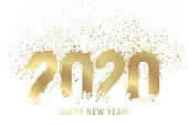 Number 2020 drawn with ink stains and coloured with golden gradient. White background. Small drops of gold above 2020.  Text Happy New Year. Vector Illustration