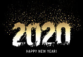 Number 2020 drawn with ink stains and coloured with golden gradient. Black background. Small drops of gold above 2020.  Text Happy New Year. Vector Illustration