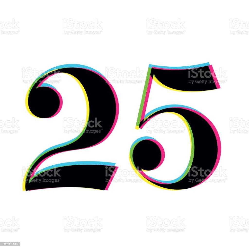 Nummer 25 drucken Overlay-design – Vektorgrafik