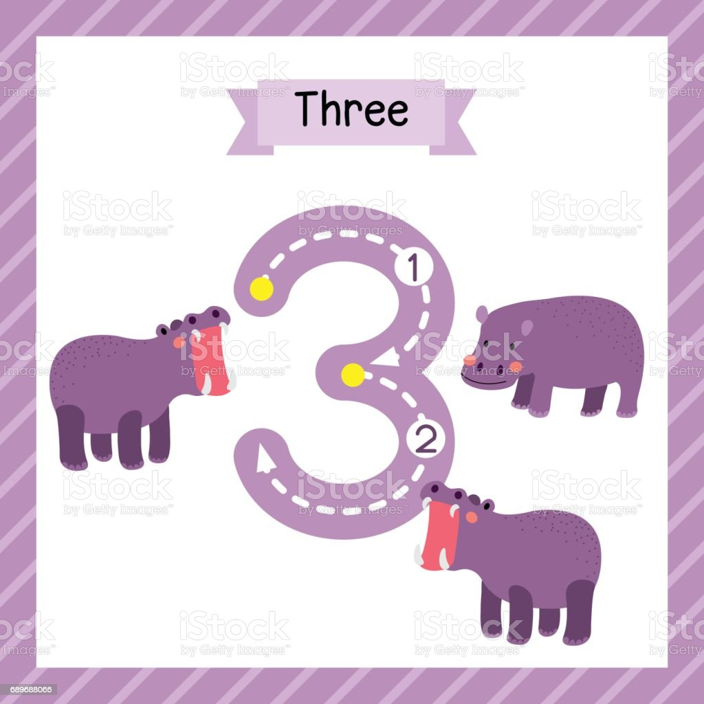 Number 3 Animal Tracing Flash Card Stock Vector Art & More Images of ...