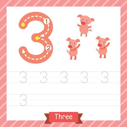 Number 3 animal tracing worksheet