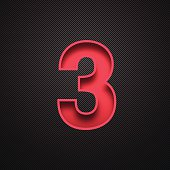 """Red number """"3"""" - three - on a realistic carbon fiber texture (black background)."""