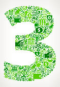 istock Number 3 Money and Finance Green Vector Icon Background 674727682
