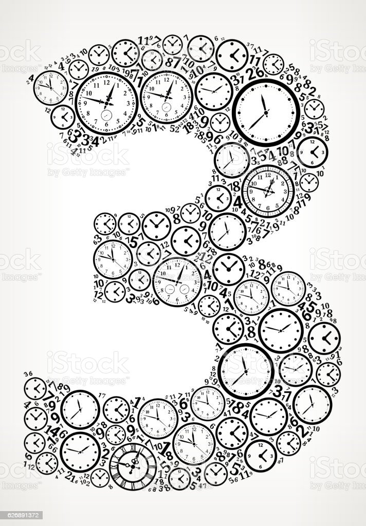 Number 3 On Time And Clock Vector Icon Pattern Vektor Illustration ...