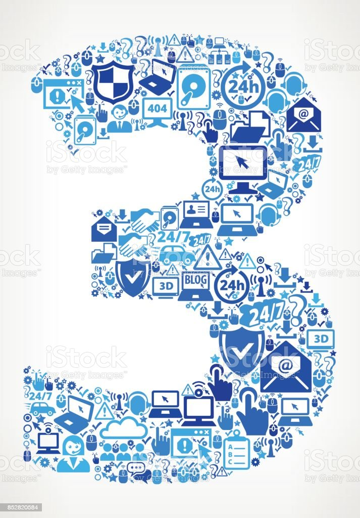 Number 3 Tech Support Vector Icon Pattern vector art illustration