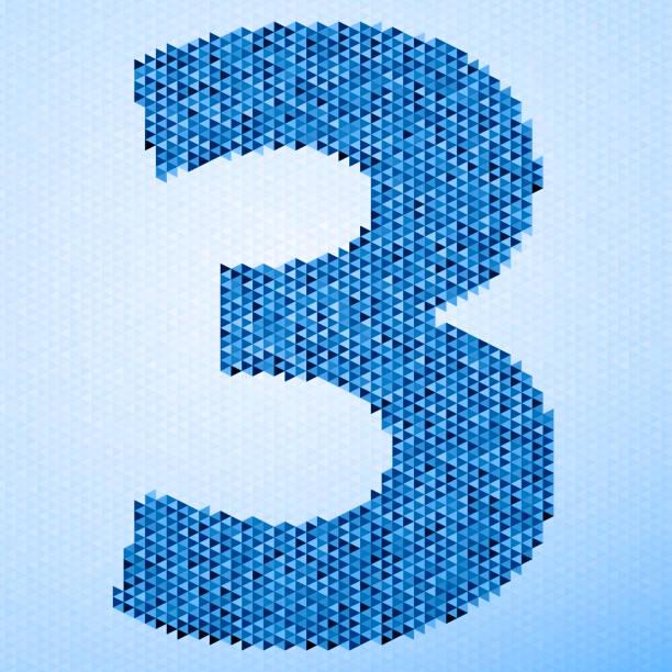 Number 3 Triangle Pattern Blue vector art illustration