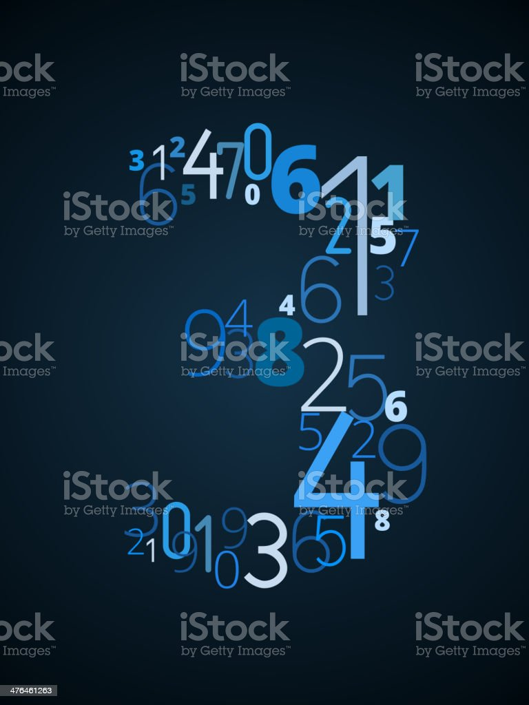 Number 3, vector font from numbers royalty-free stock vector art