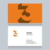"""number """"3"""", with business card template. Vector graphic design elements for company ."""