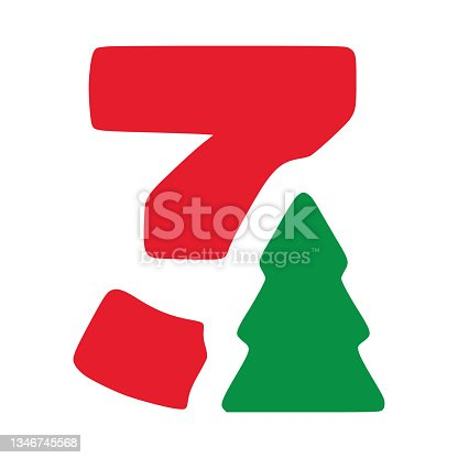 istock Number 3 with fir vector clip art, Christmas lettering isolated on white background 1346745568