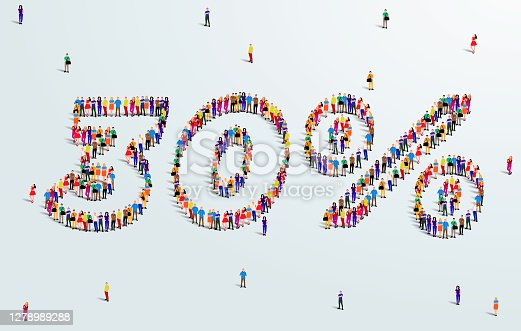 istock Number 30 Percent. Large group of people form to create a shape 30%. Special Offer Sale Design. Vector Illustration of advertising banner. 1278989288