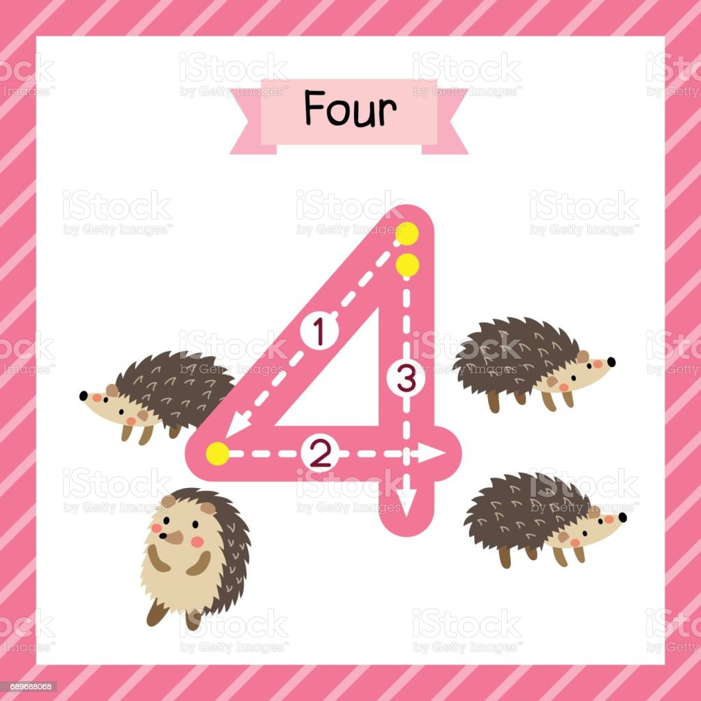 Number 4 Animal Tracing Flash Card Stock Vector Art & More Images of ...