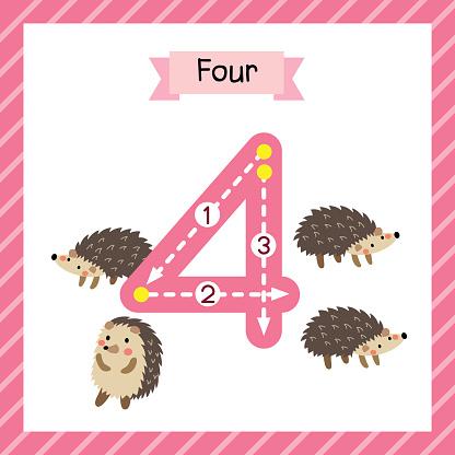 Number 4 animal tracing flash card